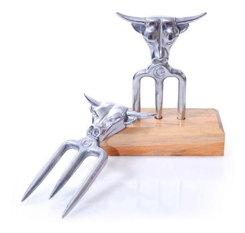 garfo tridente com suporte em alumínio churrasco bbq texas