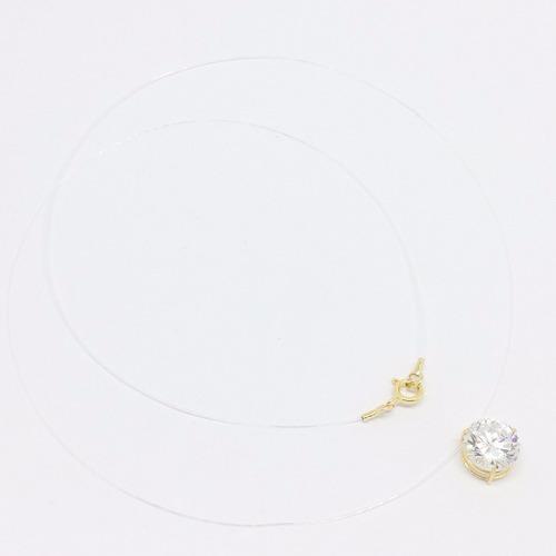 gargantilha 45cm nylon ponto luz ouro 18k zircônia  8mm full