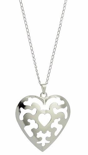 gargantilha banhado a prata forma de coração chapa abaulada