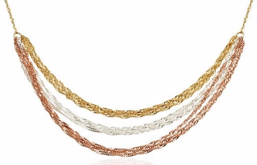 gargantilha cingapura 3 camadas ouro banhado