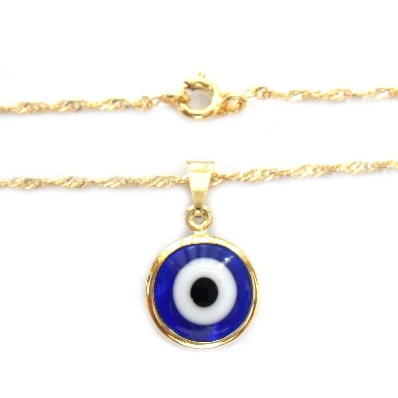 ed2c4e1c5d579 gargantilha colar olho grego azul turco folheado a ouro 18k. Carregando  zoom.
