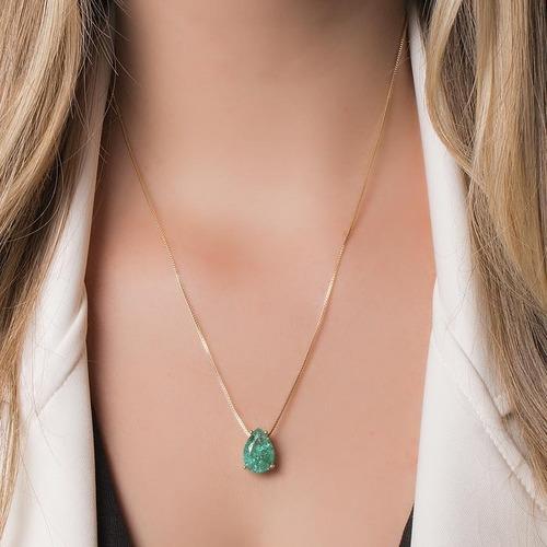 gargantilha colar pingente turmalina verde 15 microns ouro