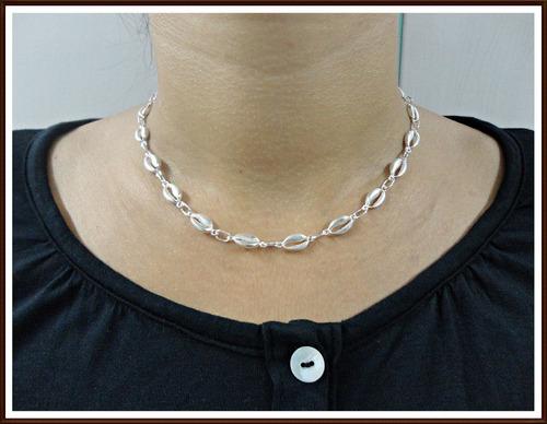 gargantilha concha, corrente búzios em prata 950