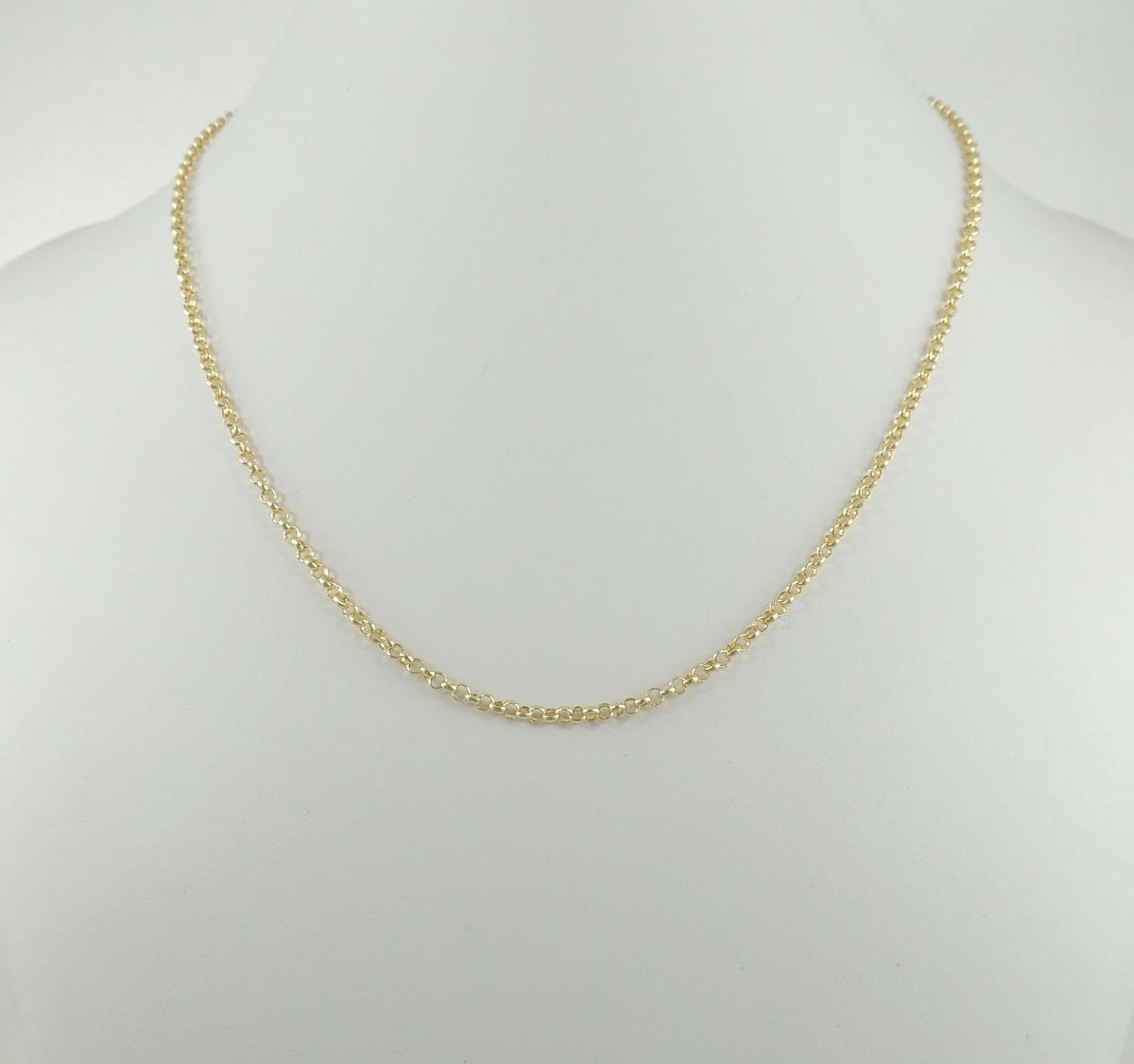 10c16fdadf834 gargantilha cordão elo português 2,5mm colar 50cm ouro 18k. Carregando zoom.