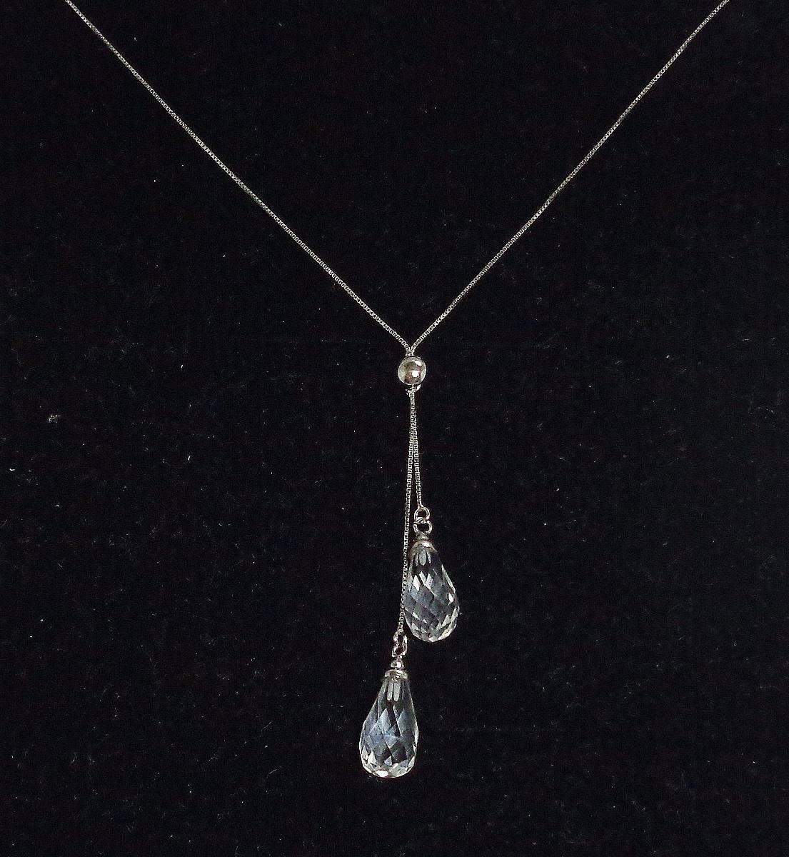 1c028b5c9e78e gargantilha corrente colar veneziana ouro branco 18k cristal. Carregando  zoom.