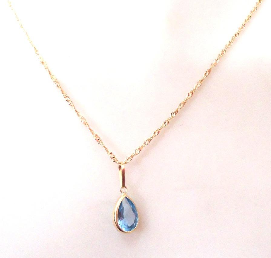 fd37efa011084 gargantilha corrente e pingente de ouro 18k pedra gota azul. Carregando  zoom.