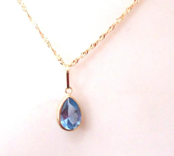 2844cd7ea8fbb Gargantilha Corrente E Pingente De Ouro 18k Pedra Gota Azul - R  334 ...