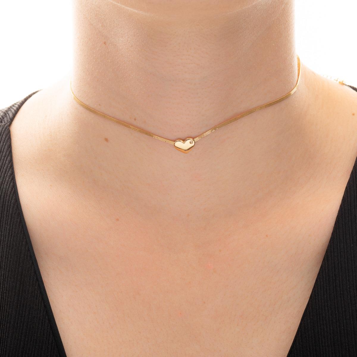 gargantilha de ouro 18k choker coração com diamante e crista. Carregando  zoom. 88dc58f0aa
