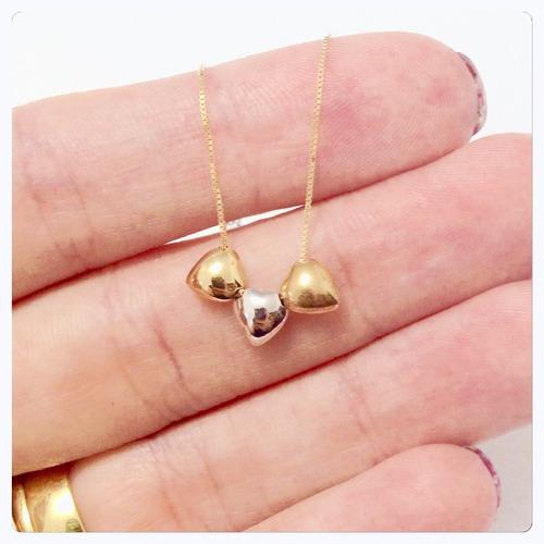 gargantilha de ouro 18k com 3 coração corrente veneziana