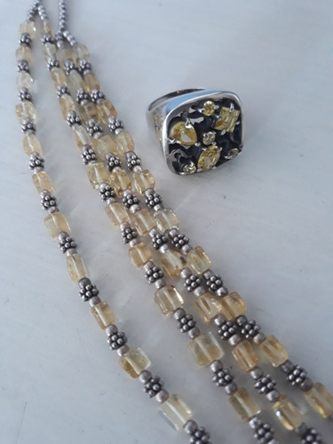 gargantilha dupla e anel prata lei 925 pedras naturais aro18