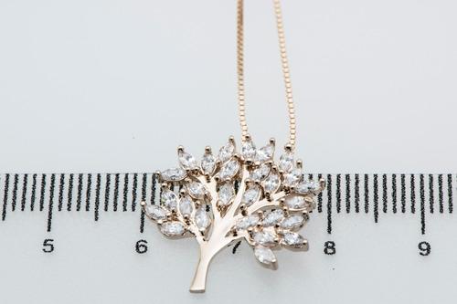 gargantilha e pingente árvore da vida zirconia branca joia em prata 925 banhada a ouro 18k cordão veneziana frete grátis