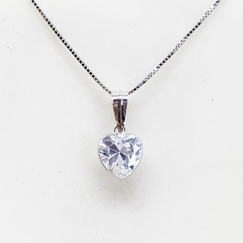 gargantilha  e pingente coração de 6mm joia  ouro branco 18k