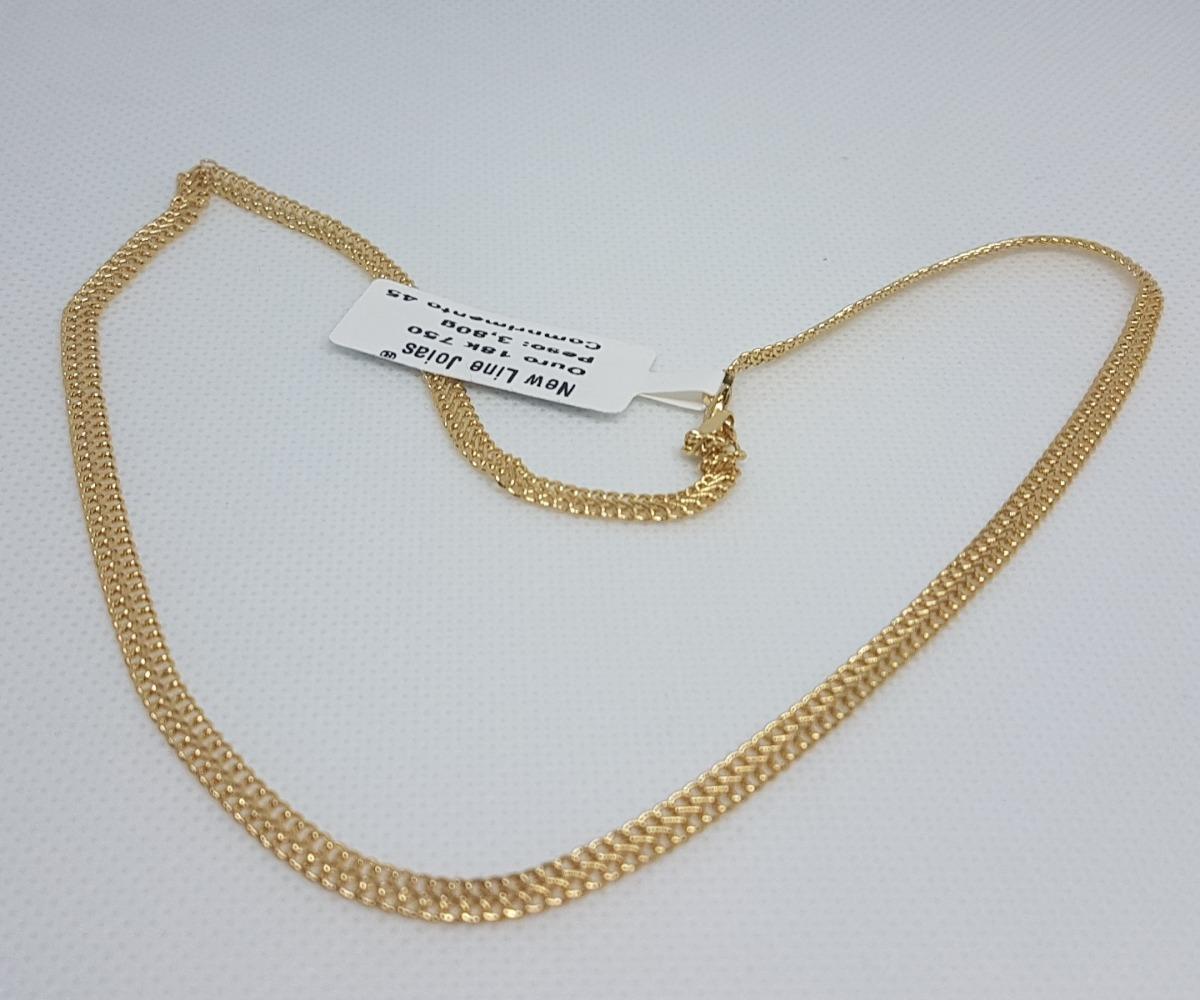 da18b219e6655 gargantilha em ouro 18k 750 lacraia 3,80g impecável 45cm. Carregando zoom.
