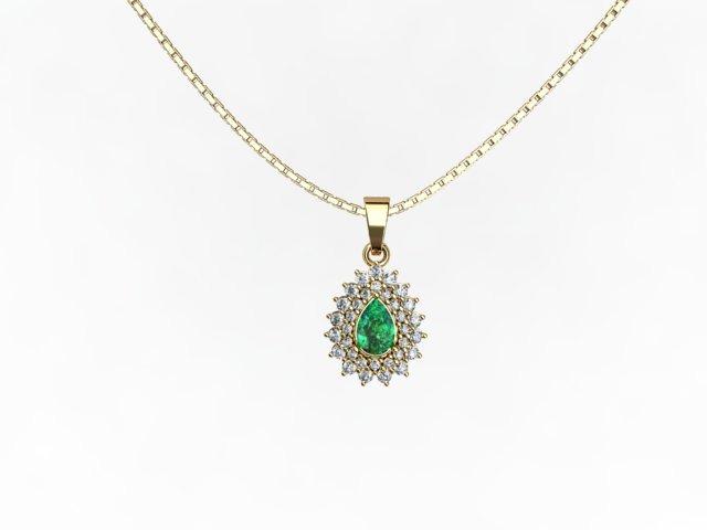 18b38cad77b2e Gargantilha Em Ouro 18k E Diamantes E Esmeralda Natural - R  2.490 ...