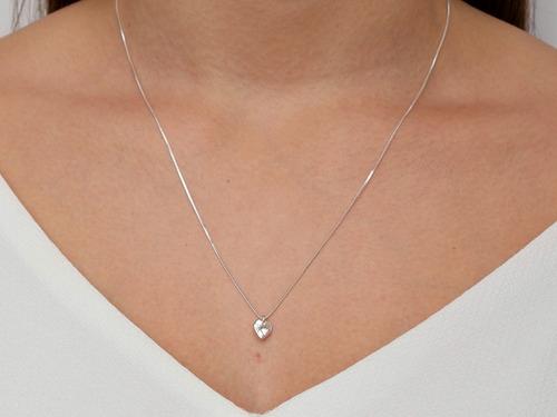 gargantilha feminina ponto de luz delicado luxo prata 925