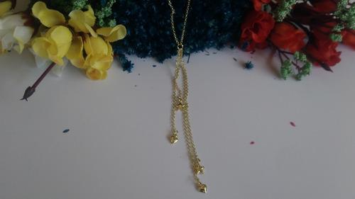 gargantilha folheada a ouro c/ correntes e pingentes em form