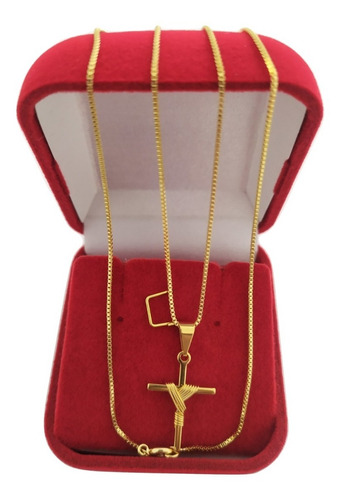 gargantilha folheada a ouro + pingente cruz + caixa veludo