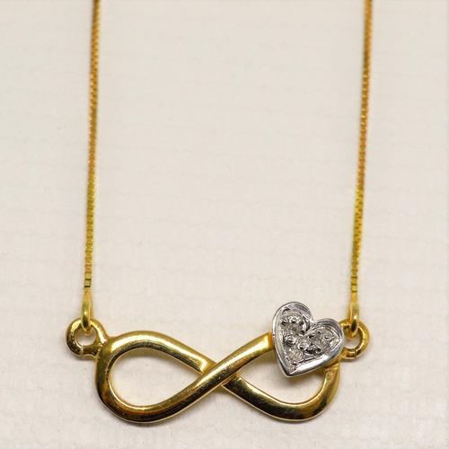 gargantilha infinito coração 18k 3brilhantes 45cm
