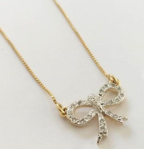 gargantilha laço cravejado lacinho feminina prata banho ouro