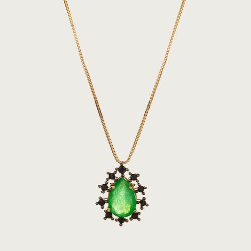 gargantilha lulean gota em ouro 18k (750) espinélio com jade