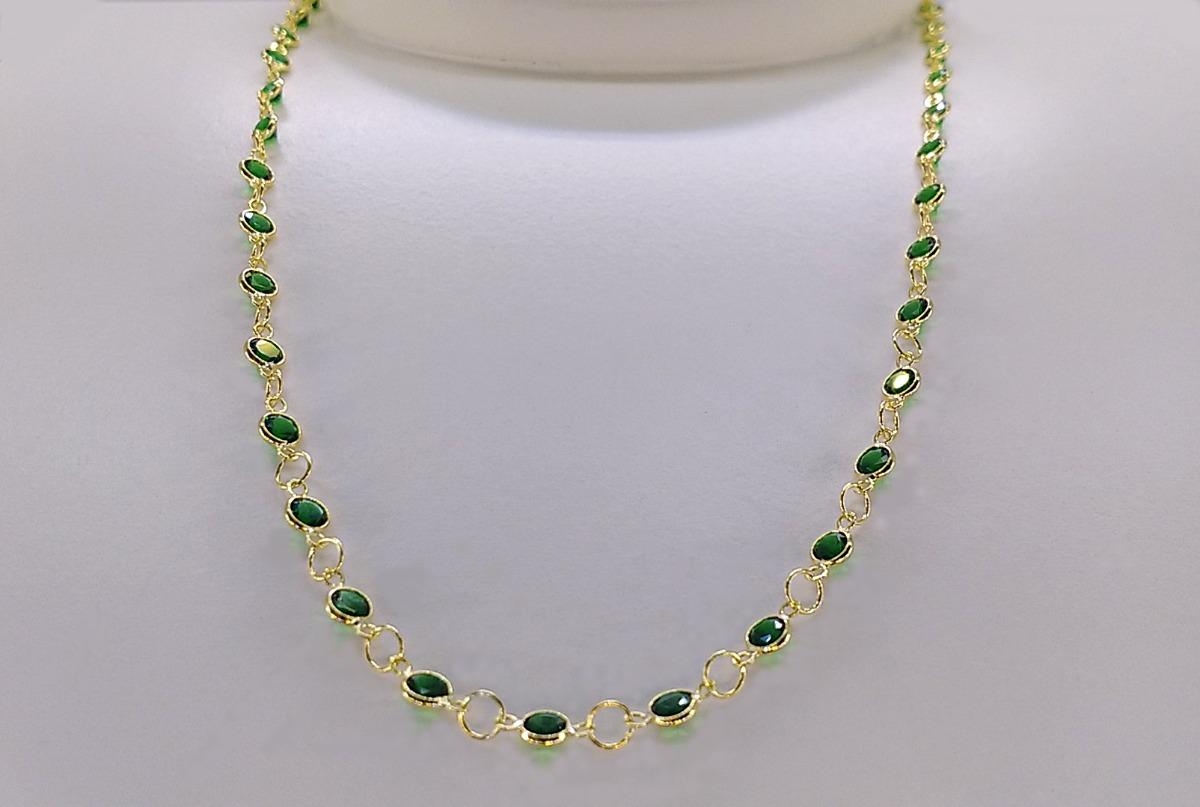4aa8a84cd7521 gargantilha ouro 18k 750 zircônia verde esmeralda 40cm 3mm. Carregando zoom.