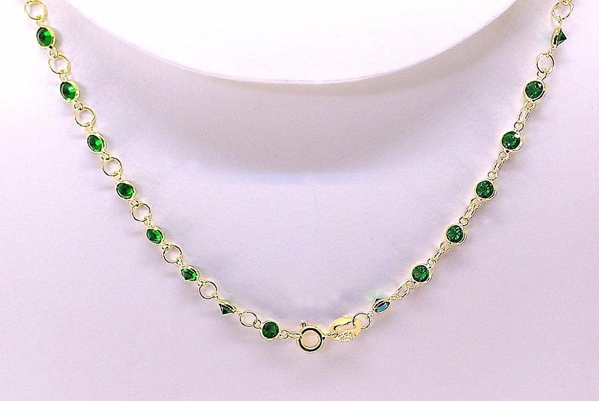 347b0ccb36b17 gargantilha ouro 18k 750 zircônia verde esmeralda 50cm 3mm. Carregando zoom.