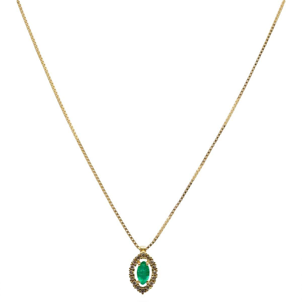 12d1d63bb3173 Gargantilha Ouro 18k Esmeralda E Diamante - R  1.650
