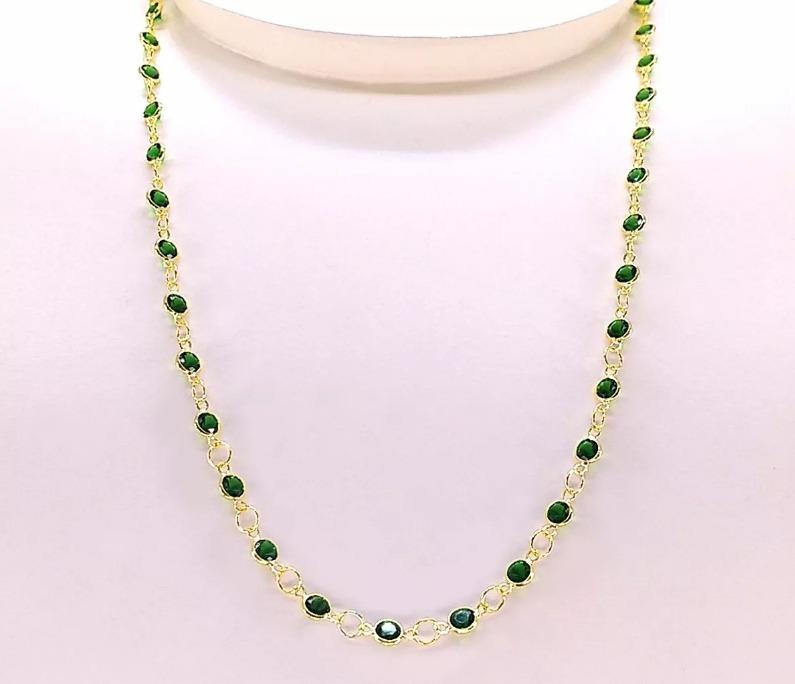 4a6fb55a2c70a Gargantilha Ouro 18k750 De Zircônia Verde Esmeralda 50cm 3mm - R ...