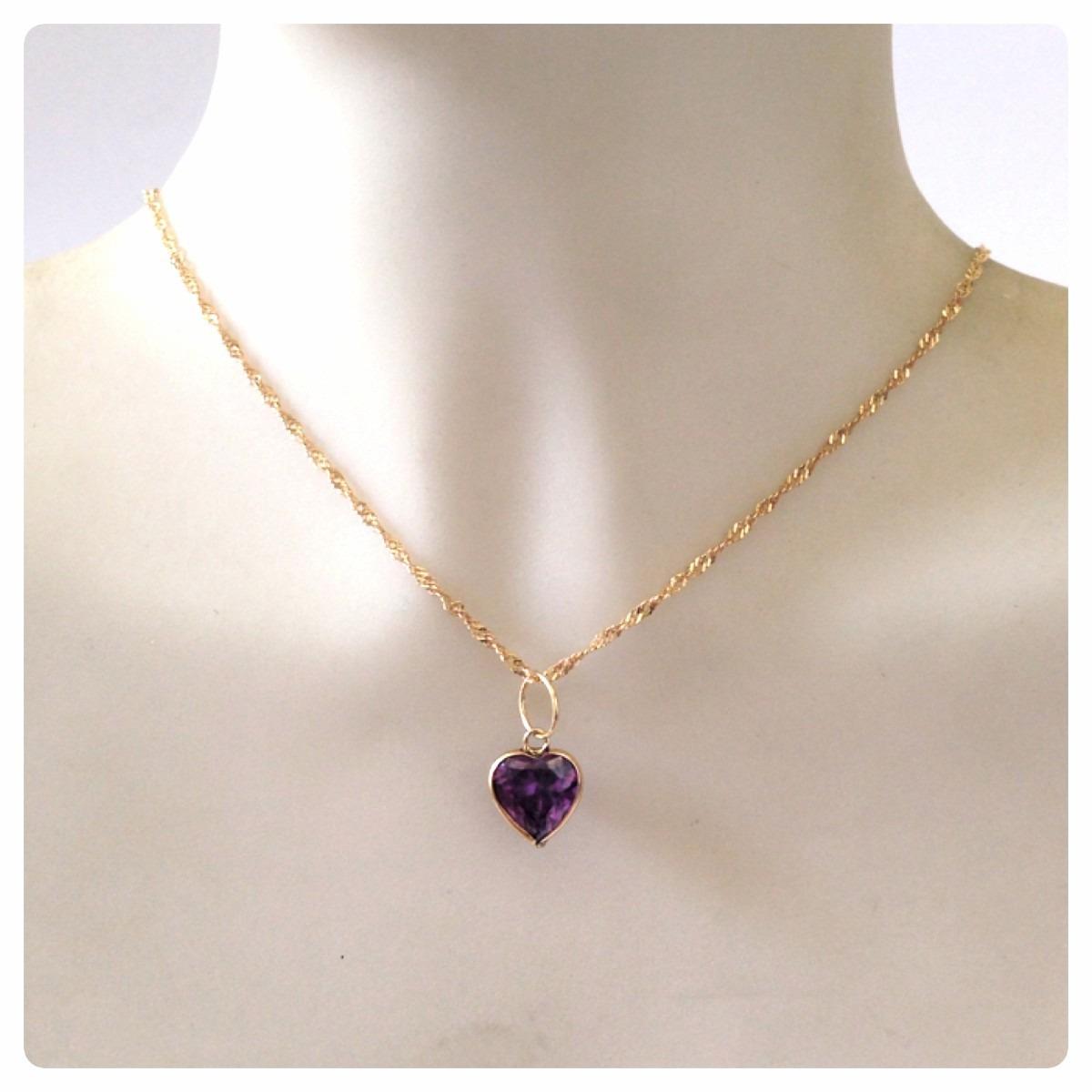 ebec4b9c0c22f gargantilha pingente coração ametista joia ouro 18k certific. Carregando  zoom.