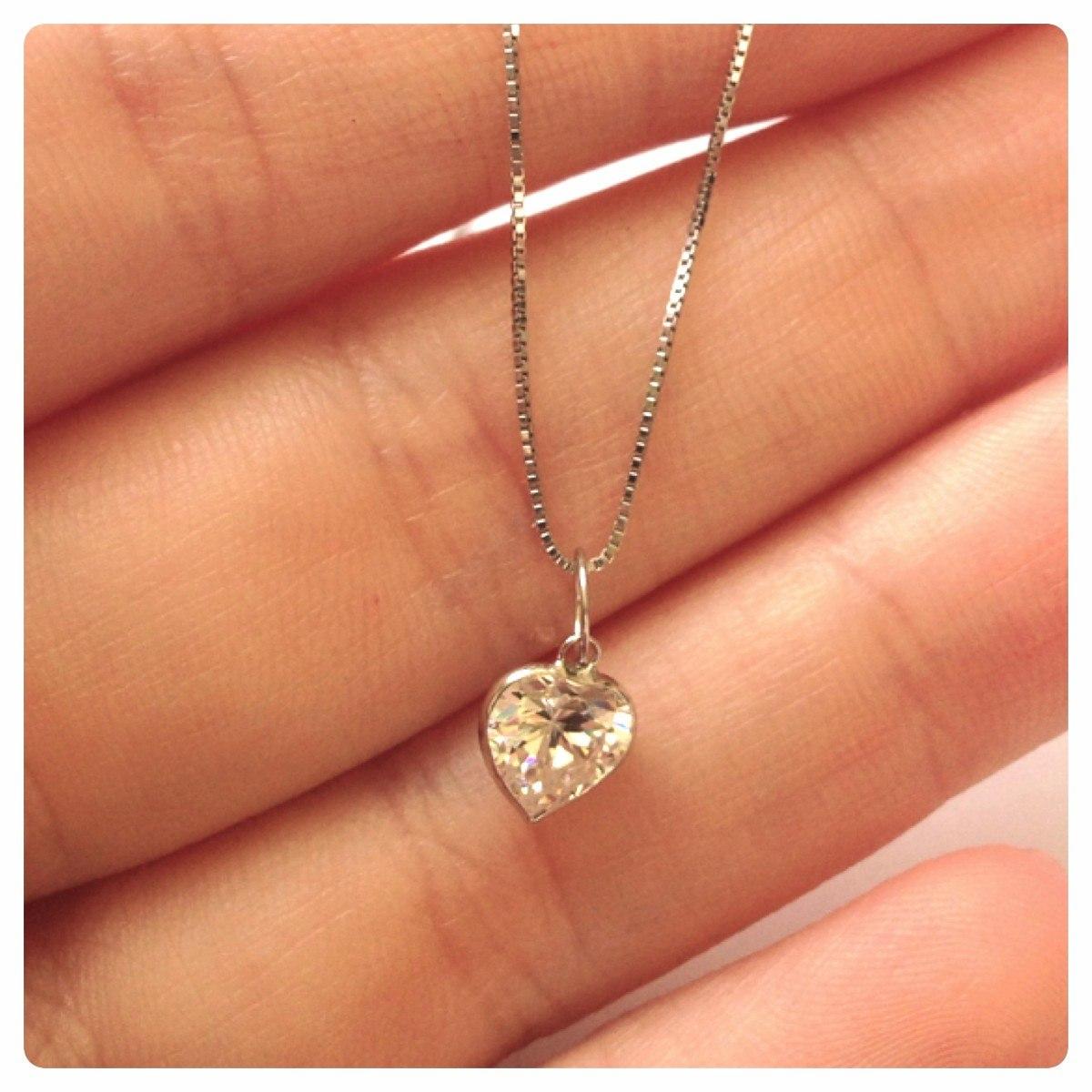 gargantilha pingente coração ponto luz 40cm ouro branco 18k. Carregando  zoom. 16f1f93b51