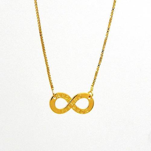 gargantilha pingente infinito banhada ouro 18 k - 1060009