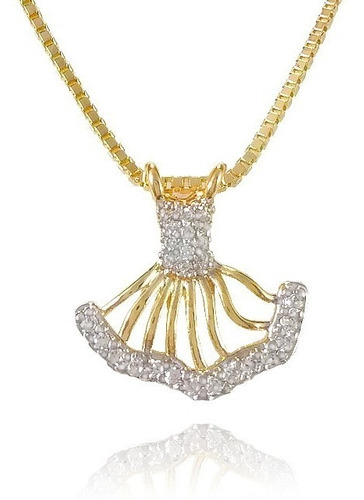 gargantilha pingente vestido banho ouro semijoia
