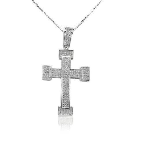 gargantilha prata com rodio cruz 4cm corrente veneziana 45cm