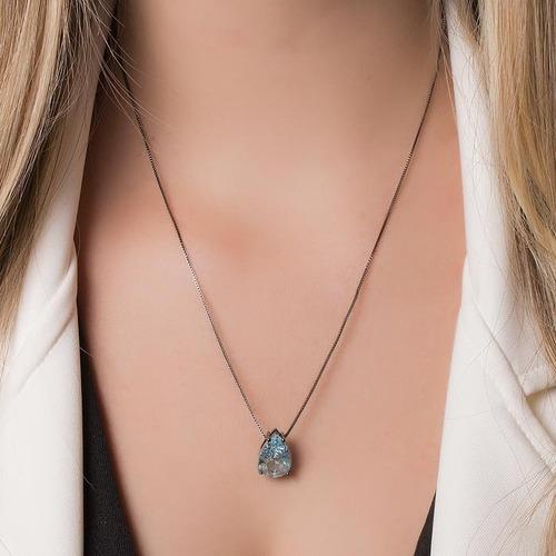 gargantilha prata com ródio fusion azul celeste lindaaa