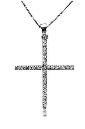 gargantilha prata cruz zirconias 45 cm garantia total