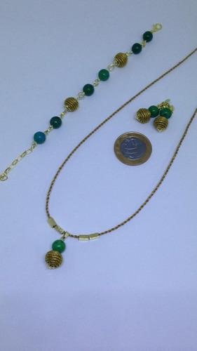 gargantilha+pulseira+brinco de capim dourado +pedra8mm