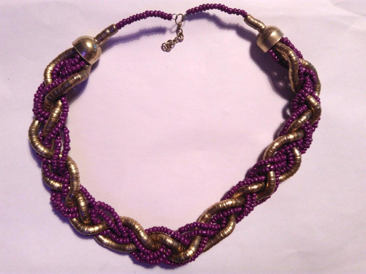 4a9c19dbc2d9 gargantilla collar trenzas dorada y violeta. Cargando zoom.