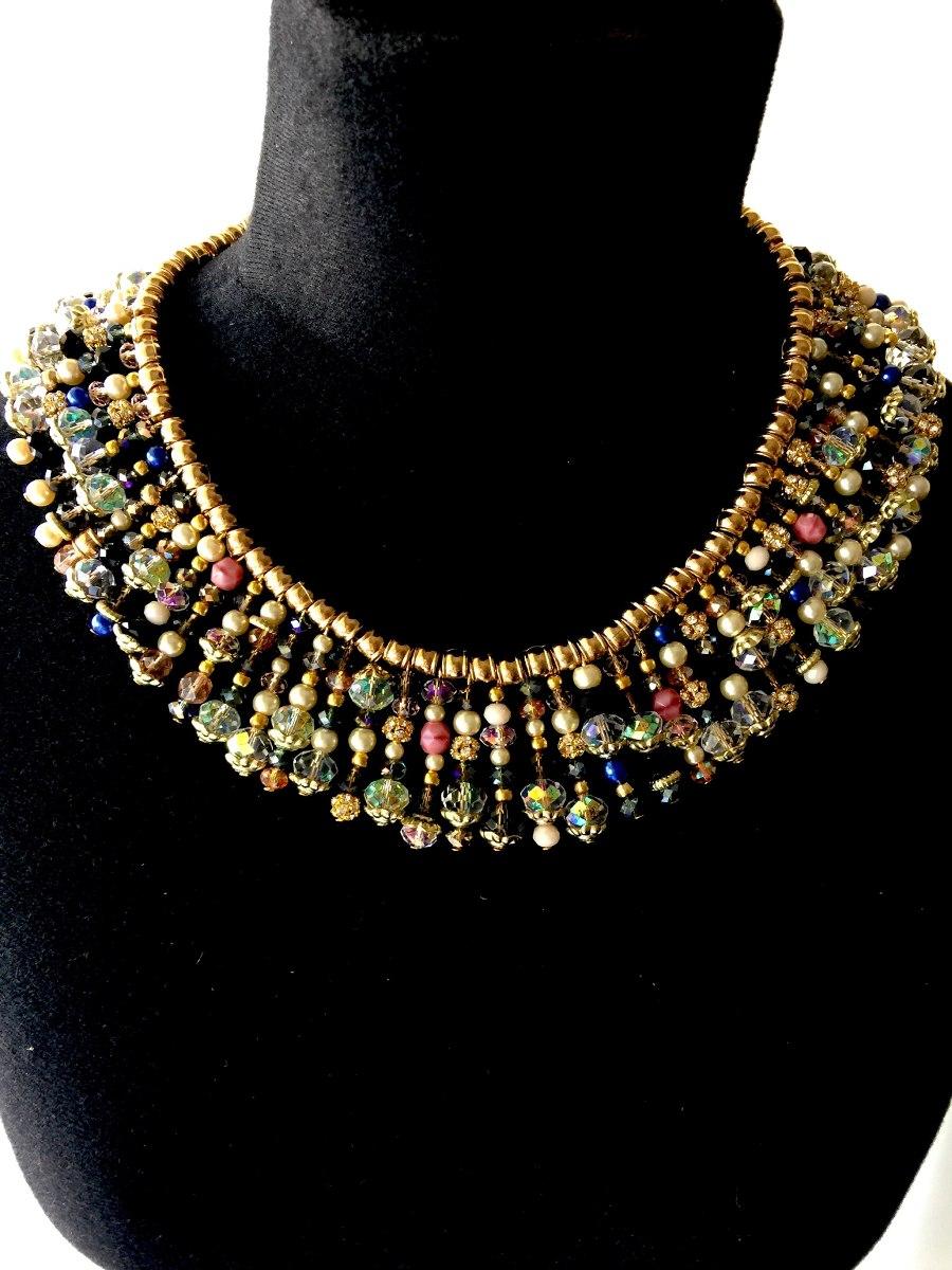 gargantilla de cristales y perlas