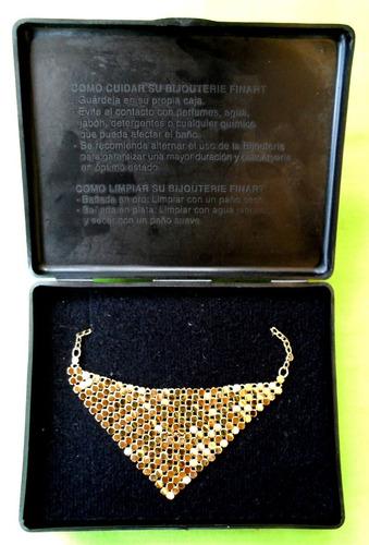gargantilla dorada baño de oro finart (nueva) envío gratis