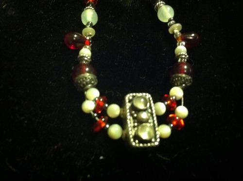 gargantilla plata .925 rojo con blanco