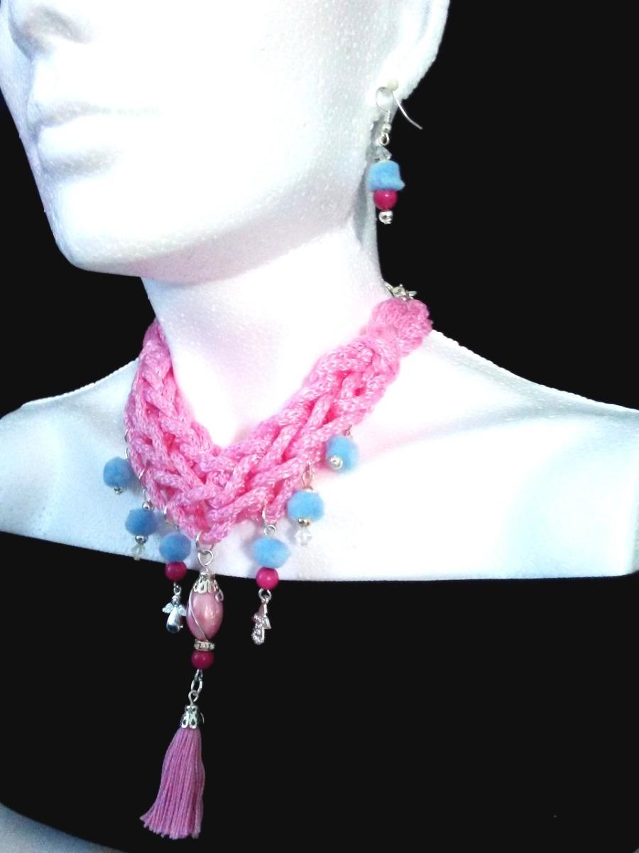 08bbae213bfe gargantilla pompón dama rosa azul moda mujer collar aretes. Cargando zoom.