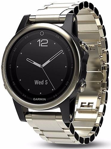 garmin fenix 5s zafiro champaña correa metal oro 42mm reloj