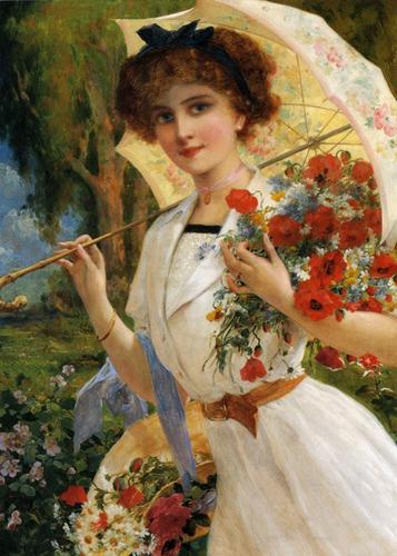 Garota Mulher Flores Rosas Pintura Emile Vernon Tela Repro