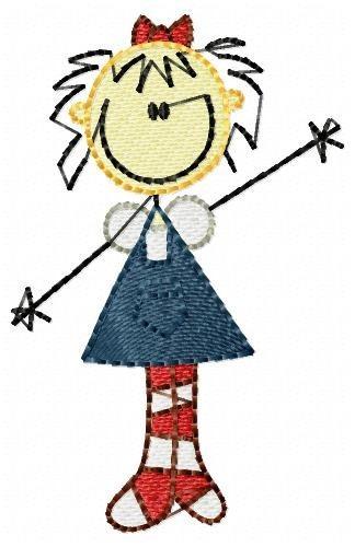 garota palito meião - coleção de matriz de bordado