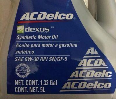 garrafa aceite 5 l acdelco dexos 5w30 gm