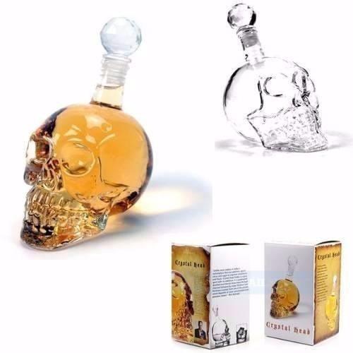 garrafa caveira crânio vidro crystal 550ml whisky vodka