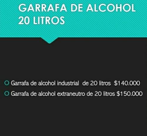 garrafa de 20 litros de alcohol industrial 97%