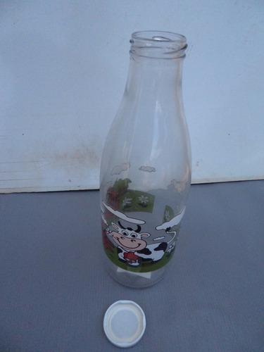 garrafa de vidro leite de 1 litro retro decorada