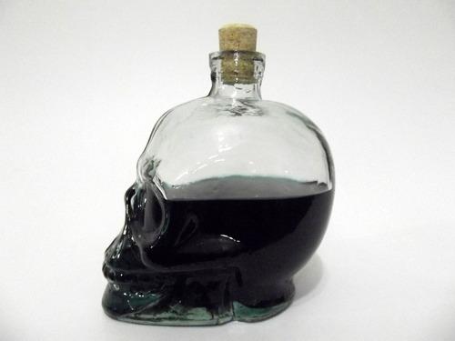 garrafa formato caveira em vidro 750ml com tampa de rolha