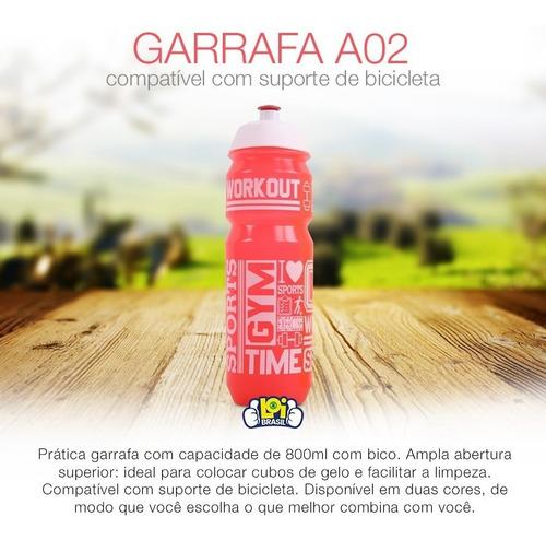 garrafa squeeze fitness a09 800ml em plastico resistente loi